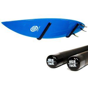 surfboard racks and a surfboard