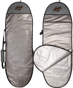 typical surfboard cover bag in grey