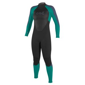 surf wetsuit in black and green