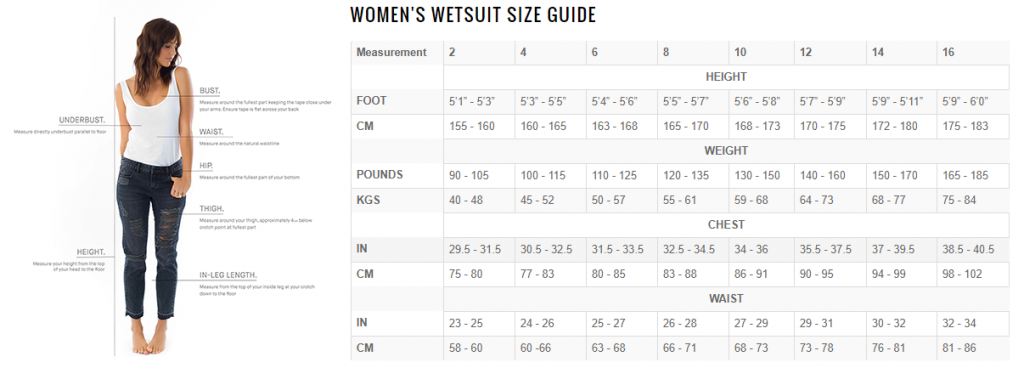 billabong synergy size guide