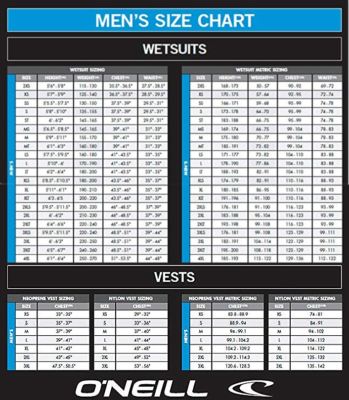 O'Neill Mens Wetsuit Size Chart