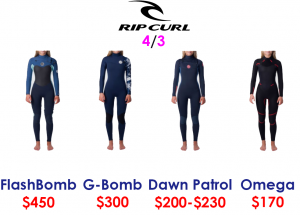 rip curl womens 4/3 surf wetsuits