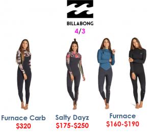 billabong womens 4/3 womens wetsuits