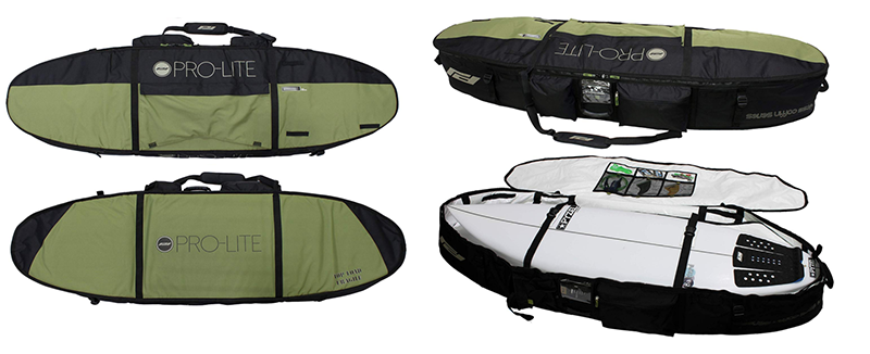 a large surfboard travel bag opened for 4 boards