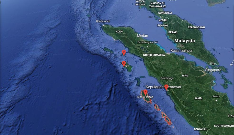 mentawai daze surf locations shown on map