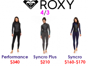 roxy womens 4/3 surf wetsuits
