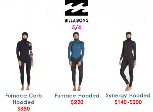 billabong womens 5/4 steamer wetsuits