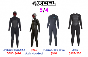 xcel womens 5/4 surf wetsuits