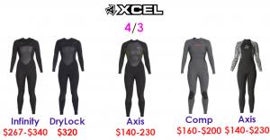 xcel womens 4/3 surf wetsuits