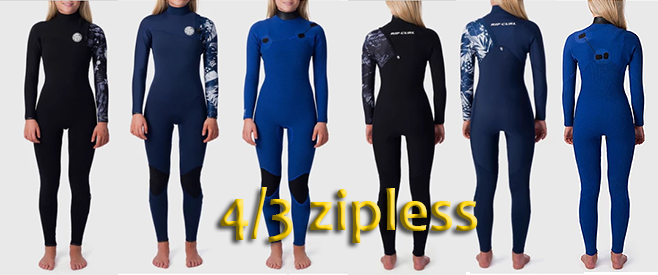 rip curl 4/3 zipless womens g bomb wetsuit