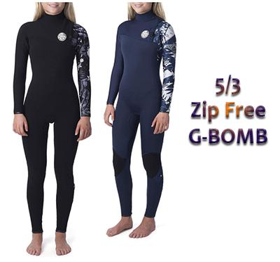 5/3 womens zip free g-bomb surf wetsuit