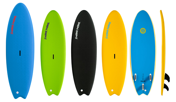 five different color soft top surfboards