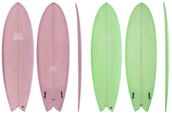 salty gipsy fish surfboard in pink and green