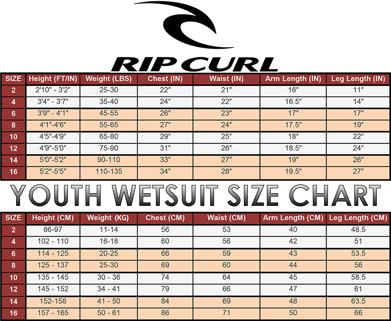 rip curl youths wetsuit size chart