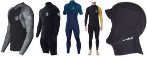 rip curl e-bomb wetsuits and a hood