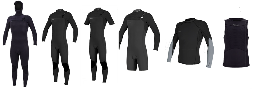 hyperfreak wetsuit lineup with all the different types for men