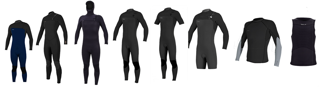 all types of wetsuits