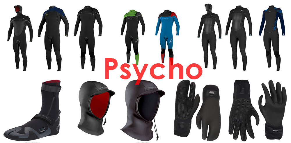 o'neill psycho series wetsuits, gloves, hoods and boots