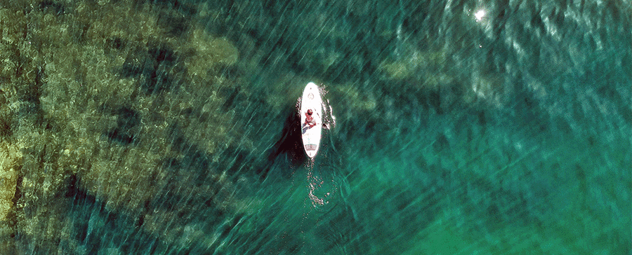 paddleboarder on clear water