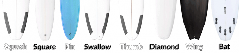 different types of surfboard tails