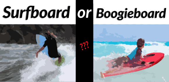 surfboard or boogie board for a kid surfer